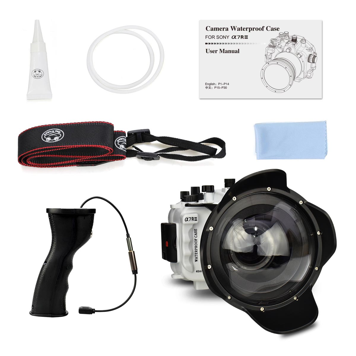 "Sony A7R III 40M/130ft with 6"" Dome port & Underwater camera housing  pistol grip (Including Standard port) White"