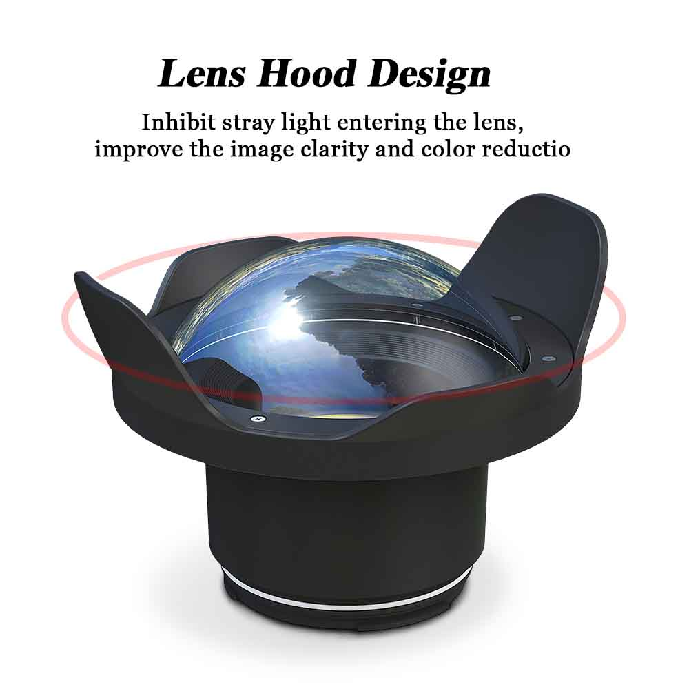 "WA005-F  40M/130FT 6"" inch wide angle dome port for underwater camera case (φ 90mm* L 78mm)"