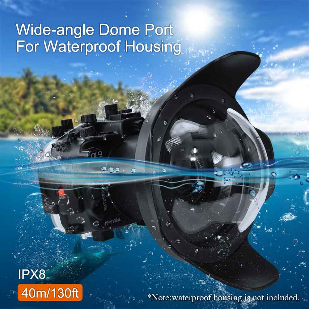 "WA006-C  40M/130FT 8"" inch wide angle dome port for diving camera case (φ 90mm* L 78mm)"