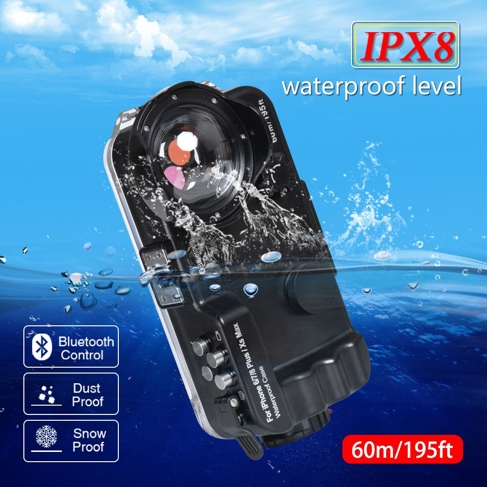 60M/195FT scuba diving bluetooth mobile housing for iphone 6/7/8/XS/MAX